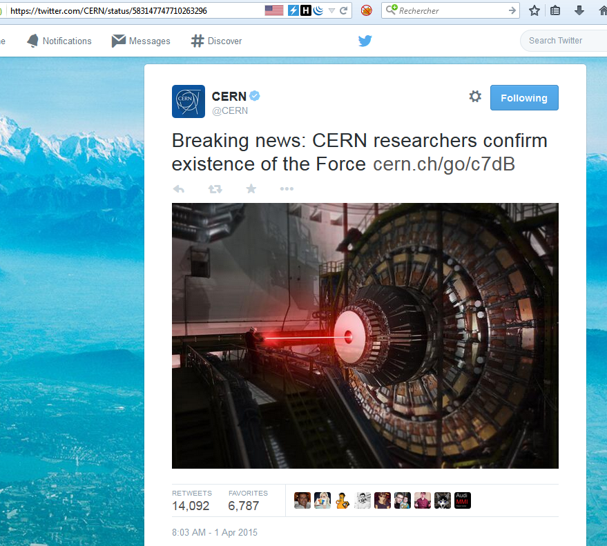 CERN tweet about the Force